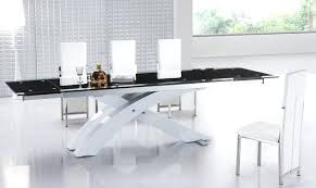 expandable glass dining table dining room large black modern extendable glass dining table with white x shaped base plus high back white modern leather