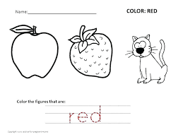coloring worksheets for preschool pages recognizing colors red kindergarten home a