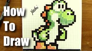 how to draw pixel art yoshi from mario step by step 16 bit not 8 bit you