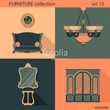 creative furniture icons set flat design. \ Creative Furniture Icons Set Flat Design