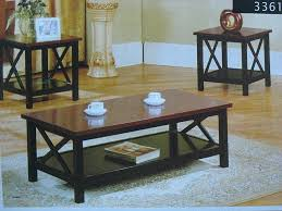 cherry wood coffee table set and end tables