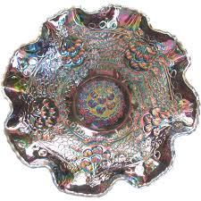Carnival Glass Patterns Extraordinary Signed Fenton Carnival Glass Cherry Chain Orange Tree Ruffled Bowl