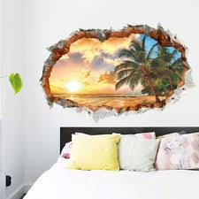 3d beach sunshine wall sticker decal art decor vinyl home room window door mural on tropical themed wall art with beach tropical d cor wall stickers art ebay