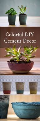 learn how to make paint tinted diy cement succulent planters pots bowls