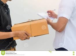 Delivery Service Sent To Customer Receiving Package Box