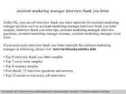 Assistant Marketing Manager Cover Letter Assistant Marketing Manager