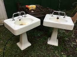 vintage bathroom pedestal sinks. Antique Vintage Porcelain Bathroom Pedestal Sink - One Matching Pair Available Sinks P
