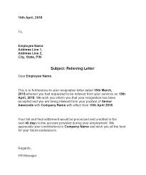 Resignation Of Employment 37 Professional Relieving Letters Free Templates