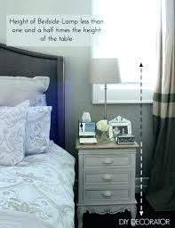 bedside lamp height table how tall should a be medium size of what bedroom wall light