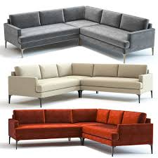 west elm andes l shaped sofa 3d