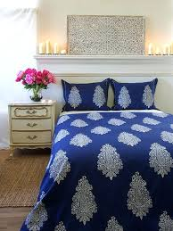 blue twin duvet cover navy white paisley print modern saffron marigold light