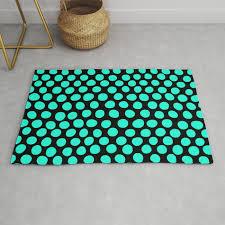light aqua blue dots black rug