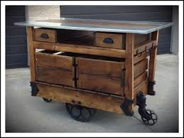 Rustic Kitchen Cart Island Rustic Rolling Kitchen Island With Stainless Steel Top For