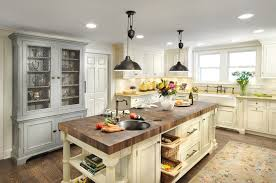 french kitchen lighting. Stunning French Country Kitchen Decor With Butcher Block Island For Traditional Farmhouse Sink And Lighting