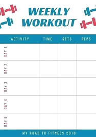 Gym Exercise Planner A Program Card Template Or Workout Training Plan Fitness
