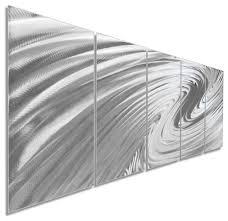 modern metal art the wave soothing wavy artwork on natural aluminum