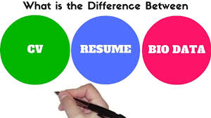Difference Between Bio Data Resume And Cv Youtube