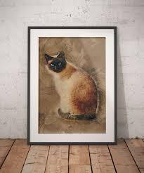 siamese cat art print cat wall art