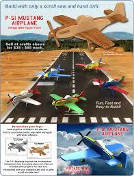 scroll saw magic p 51 mustang airplane wood toy plan set