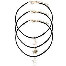 3 pcs sets punk black velvet stripe star moon sun pendant choker necklace torques women collar jewelry free shipping 32782500533