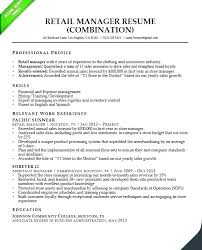 Retail Manager Resume Department 8 Managers Store Profile