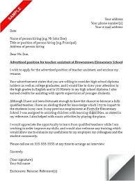 Teacher Assistant Cover Letter Teacher Assistant Cover Letter