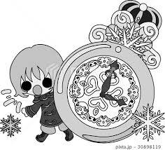 冬と女の子の可愛いイラスト 雪の時計 のイラスト素材 30898119 Pixta