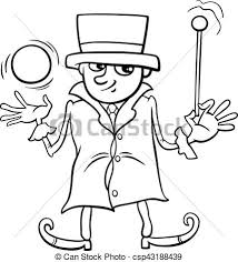 Wizard Or Elf Coloring Page Black And White Cartoon Illustration Of