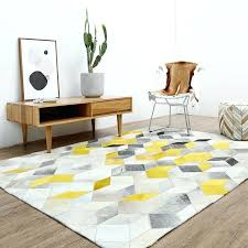 modern yellow and grey patchwork cowhide rug canada