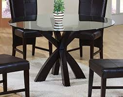 Round glass top Dining Image Unavailable Amazoncom Amazoncom Dining Table With Round Glass Top In Rich Cappuccino