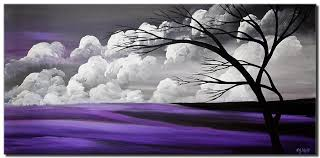 purple gray tree painting abstract
