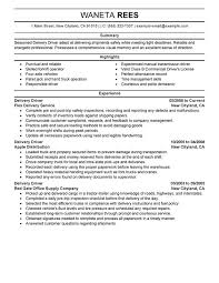 Delivery Driver Duties Resume Professional Resume Templates
