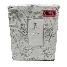 blue gray pretty fl queen sheet set