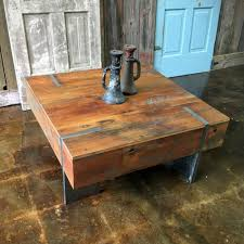 Square Modern Reclaimed Wood Coffee Table / IN STOCK!