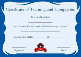 Certificate Of Training Completion Template Certificate Of Training Completion Template Free