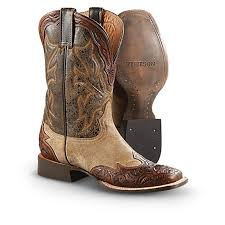 men s stetson hand tooled leather western boots brown
