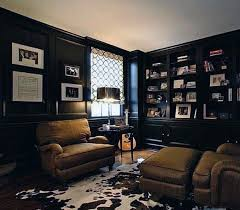 Cool Man Cave Ideas With Black Wall Paint And Leather Chairs