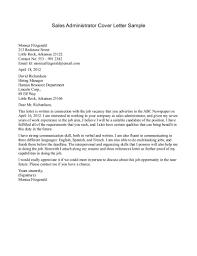 Cover Letter For Sales Writing Administrator Sample Associate Resume