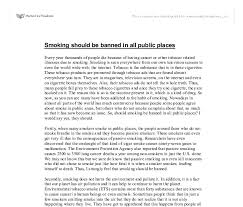 smoking should be banned in all public places gcse english  document image preview