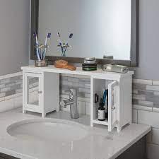 The Over The Sink Storage Organizer Hammacher Schlemmer Bathroom Sink Storage Sink Storage Sink Shelf