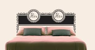 his and her headboard wall decal on wall art vinyl decal sticker headboard with his and her headboard wall decal dezign with a z