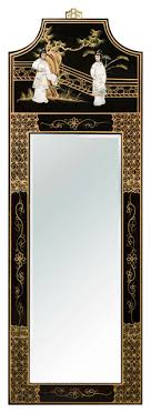 Small Picture Chinese Wall Mirror With Black Lacquer Wood Frame Asian Wall