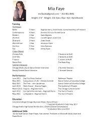 Modern Dance Resume Modern Dance Resume Zlatan Fontanacountryinn Com