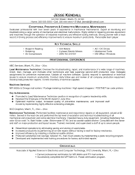 Resume Sample Of Mechanical Maintenance Engineer New Maintenance