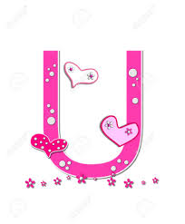 The letter U in the alphabet set Heartfull is pink outlined with white Polka dots and hearts decorat Stock