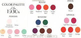 1930s makeup color palette