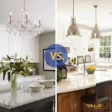 pendant lighting vs chandeliers over a kitchen island