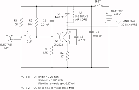 understanding fm transmitter circuit electronics forum circuits the electret microphone has a current of 200ua which changes by 3 ua depending on sound waves this sets the voltage across r1 to 2v and the voltage