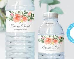 Creative diy personalized water bottle ideas Greenery Printable Wedding Water Bottle Label Blush Pink Rose Watercolors Customizable Template Modern Calligraphy Favor Bag Bridal Shower Ideas Etsy Greenery Watercolor Wedding Water Bottle Label Easy To Etsy