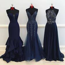 Prom Dress Color Chart 2017 Maxi Style Prom Dresses Beaded Crystal Mermaid A Line Dark Navy Blue Formal Evening Dresses Occasion Party Gown Custom Made Cheap Uk Prom Dresses